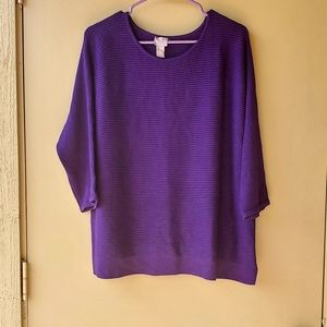 Chico's Womens Basic Purple Pullover Sweater